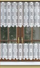 "CAFE NET CURTAIN pelmet price per metre drop 16"",24""or31"" ready to hang White"
