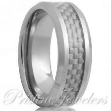 Tungsten Carbide White Carbon Fiber Ring Mens Engagement Wedding Band Silver NEW