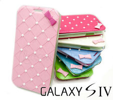 Cute Bow Pearl Ultra Thin Flip Case Cover for Samsung Galaxy S4 i9500 i9505 4G