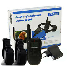 Waterproof Rechargeable LCD 100LV Shock & Vibra Remote 2 Dog Training Collar