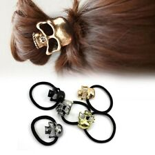 Stylish Gothic Punk Metal Skull Head Hair Ponytail Cuff Band Wrap Holder Tie New