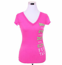 Aeropostale Women Casual Solid V-Neck Graphic T Shirt Style 3681-Free $0 Ship