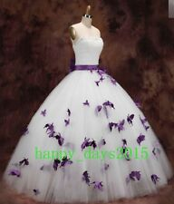 New White Purple Butterfly Beads Tulle Bow Wedding Dress 2 4 6 8 10 12 14 16 18