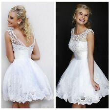 Beautiful Pearls White Cap Sleeve Scoop Homecoming Dresses Short Mini Prom Dress