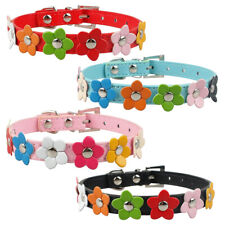 Colorized PU Leather Flowers Studded Dog Puppy Cat Collars Necklace XSSML