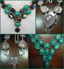 Gemstone 925 Silver Plate Rose Quartz Malachite Labradorite Turquoise Butterfly