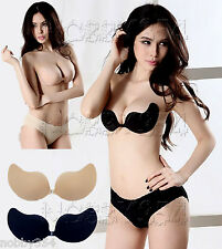 Silicone Stick On Push Up Gel Backless Strapless Invisible V Bra Black Nude UK