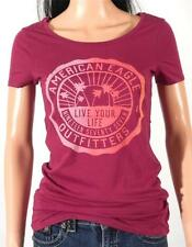 American Eagle Outfitters AEO Heritage Graphic Tee Womens Fuchsia Shirt New NWT