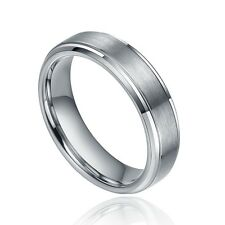 Tungsten Carbide Ring Mens Jewelry Titanium Color Shiny Engagement Wedding Band