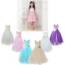 New Flower Girl Princess Pageant Wedding Birthday Party Communion Tulle Dress