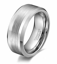 6mm 8mm Tungsten Carbide Ring Brushed Center Polished Wedding Band Men's Jewelry