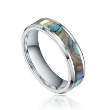 Abalone Shell Inlay Tungsten Ring Luxury Unique High Polished Anniversary Rings