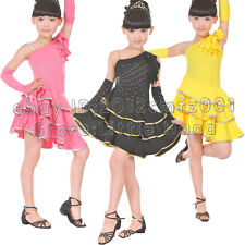 Kids Girls Dance Dresses Latin Salsa Tango Chacha One Shoulder Pettiskirt SZ 5-9