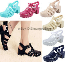 Womens Retro Slingback Sandals Casual Jelly Shoes Crystal Block Heel T-straps