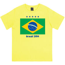 BRASIL FLAG WORLD CUP 2014 BOYS BRAZIL FOOTBALL SUPPORTERS PRINTED KIDS T-SHIRT