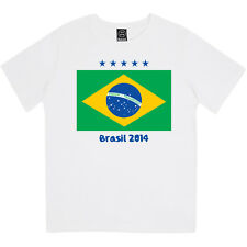 BRASIL FLAG WORLD CUP 2014 GIRLS BRAZIL FOOTBALL SUPPORTERS PRINTED KIDS T-SHIRT