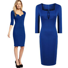 Womens Classcical Elegant Tunic Bodycon Formal Party Dress V-neck office dresses
