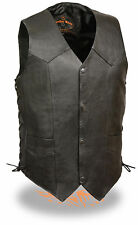 Mens Snap Front Black Leather Biker Vest with Side Laces & Satin Liner