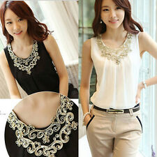 Womens Ladies Embroidery Sequin Chiffon Casual Sleeveless Tops Blouse Vest Shirt