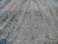 """Cotton Embroidered Flower Tulle Lace W16.5"""", dress, bridal, off-white, by yard"""