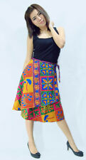 Graphic Floral-Print Summer Wrap Skirts_Knee length_Size:One Size Fit Most (S-L)