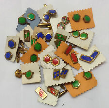 40s Set of 3 Assorted Deco Style Cufflinks in Different Styles and Colours.
