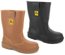 MENS LADIES RIGGER SAFETY BOOTS MIDSOLE STEEL TOE CAPS FUR LINED LEATHER SZ 3-14