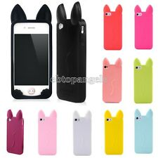 HQ Cat Cute Ear Design Silicone Skin Back Cover Case For Apple iphone 4G 4S 5G