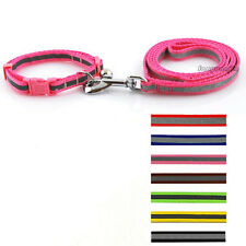 Reflective Pet Dog Collar & Lead Set with Bell Cute Safety for Small Medium Dogs