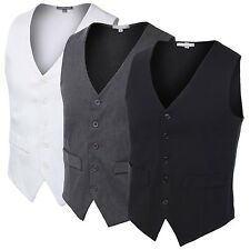 Mens Basic Suit Fashion Formal Slim Fit Tailored Button Down Vest With Stretch
