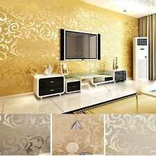 4 Colors Vintage Wall Paper Wallpaper Roll Damask Victorian Embossed Textured WN