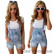 NEW WOMENS LADIES BLUE DENIM FLORAL DUNGAREES PINAFORE ALL IN ONE SHORTS (CO)