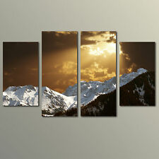 Mountain Scene with Dramatic Sky- Large 4 Piece Canvas Art - Ready To Hang