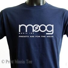 """MOOG T-SHIRT music inc """"presets are for the weak"""" synth - ALL SIZES - 5 COLORS"""