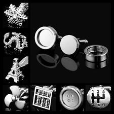 Buy 6 Get 1 Free NOVELTY STAINLESS STEEL GOLD SILVER TONE SQUARE ROUND CUFFLINKS