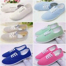 Women's Lace Up Canva Solid Flat Moccasins Loafers Sneakers Shoes 6 Candy Colors