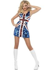 ADULT WOMENS FEVER ALL THAT GLITTERS RULE BRITANNIA COSTUME SMIFFYS - 3 SIZES