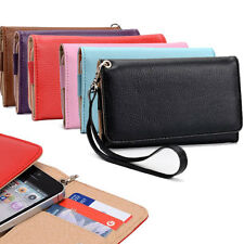 For Amazon Phones Premium PU Leather Wristlet Wallet Cover Case w/ Card Holder
