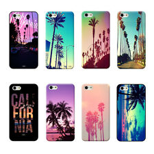 California Pink Sunset Beach Plam Trees Scene Hard Case For iPhone4 4s 5 5s 5c