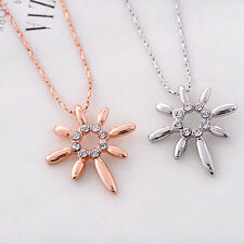 """New Fashion """"Sun Necklace"""" lady's Best choice18KGP white&Rose gold pendant Free"""
