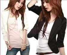 Women 3/4 sleeve of a small button slim short coat lapels blazer jacket