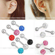 16G CZ Crystal Ball Stainless Steel Tragus Cartilage Helix Bar Ring Stud Earring