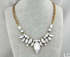 LO US Graceful Gorgeous Cluster Crystal Statement Necklace Women Bib Choker