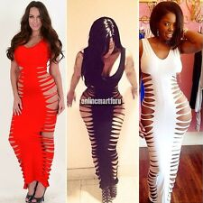 Lady FishBone Laser Cut Out Sleeveless Maxi Bodycon Long Bandage Dress S-L ONMF