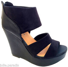 LADIES HIGH BLOCK HEEL PLATFORM CUFF WEDGE PEEP TOE STRAP SUEDE HOT WOMENS SHOES
