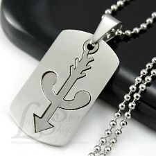 Men Stainless Steel Bow and Arrow Logo 2 in 1 Dog Tag Pendant Necklace Cool M17