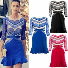 New Womens Ladies Celebrity Lace Mesh 3/4 Sleeves Ruffle Frill Flared Mini Dress