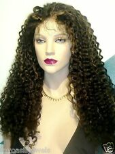 Indian Human Hair Remi Remy Glueless Full Lace Wig Hand Tied  1B/27 Jerry Curl