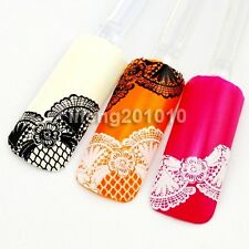 New 2015 3D Black White Lace Design Nail Art Sticker Decals Decorations Tool 008