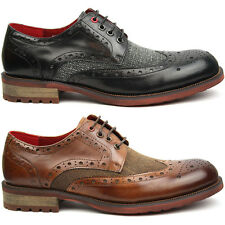Mens Leather Brogues, Justin Reece Shoes, Black Brown UK 6 7 8 9 10 11 12 NEW